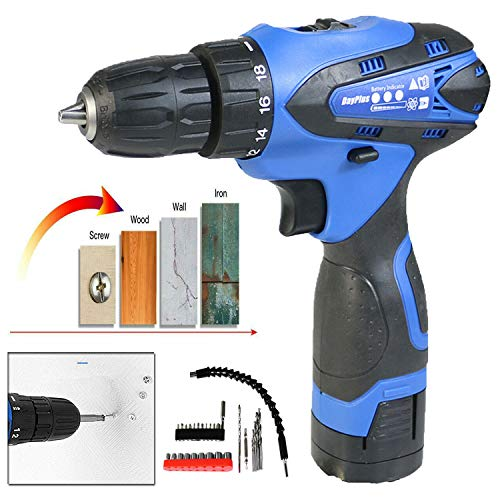 Lithium Battery Power Tools - 16.8V Cordless Combi Drill & Impact Driver Set, Electric Screwdriver Kit, 45N.m Torque, Variable Speed, 18+1 Torque Setting, w/29 Piece Drill Bit Set & Carry Case