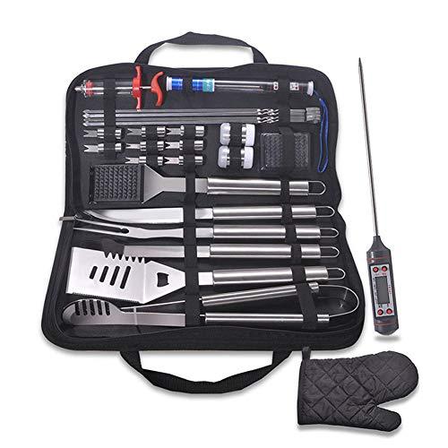 ZMXZMQ BBQ Grill-Tools Set Barbecue-Utensilien,Grillbesteck,Barbecue Sets Grillen Werkzeuge Koffer Aus Edelstahl (25Er Grillbesteck)