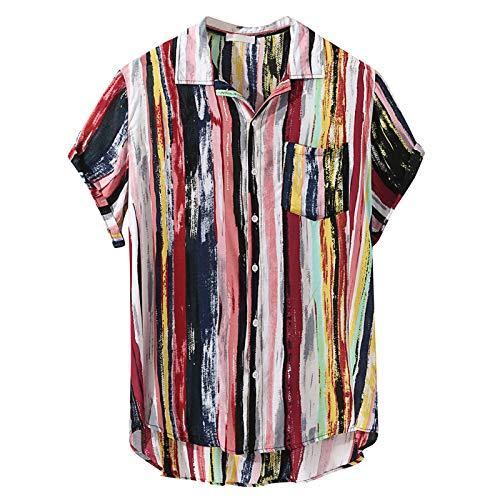 Camisas de Manga Corta a la Moda para Hombres Camisas Ajustadas con Personalidad Estampadas Rectas Camisas Informales con Botones Diseño Creativo 4X-Large