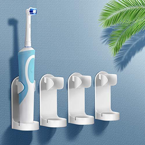 Yoassi Support de Brosse à Dents Électrique, Organisateur de Dentifrice Mural Autocollant en Plastique Multifonctionnel Support de 4 Accessoires pour Salle de Bain et Cuisine