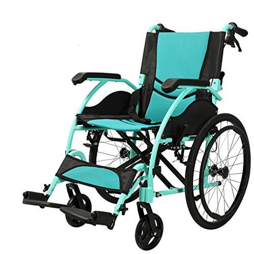 HSRG Faltbare manuellen Rollstuhl Handbremse Aluminiumrahmen Ultra-Leichtgewicht für Erwachsene, ältere Menschen Behinderte Roller Trolley