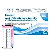 Femometer 25x Test de Embarazo Ultrasensibles y Taza de orina,20 mIU/ml, Resultados Precisos con la App (iOS & Android) Reconocimiento Automático de los Resultados de las Pruebas