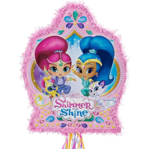 Ya Otta Pinata Pull String Shimmer and Shine Pinata, Birthday Party, 2lb Filler Capacity, 17 1/2 x 21 1/2 x 3 Inches