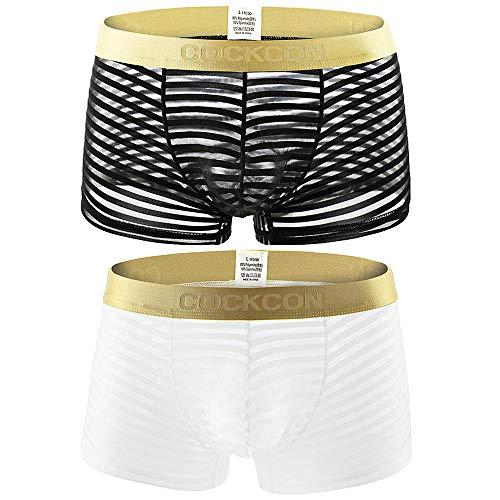 Laxier 2er-Pack Herren Boxer Shorts Weiche Unterhosen Durchsichtige Boxershorts Sexy Unterwäsche Trunk für Männer (Wt/Bk, XXL)