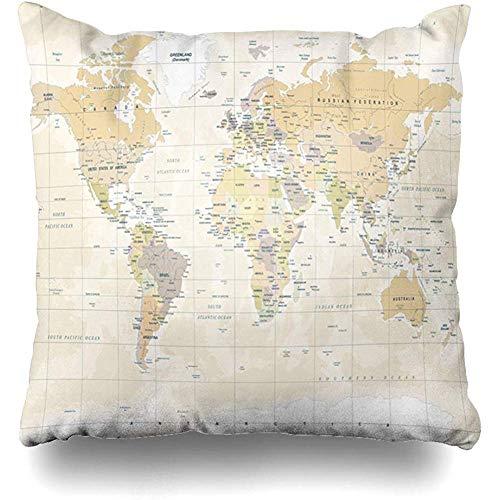 Fundas de almohada de tiro 45X45Cm Australia Beige Detalle Mapa del mundo Vintage Alto detallado Continente Amarillo Físico Europa Mapa del mundo plano Decoración del hogar Funda de cojín Funda de almohada