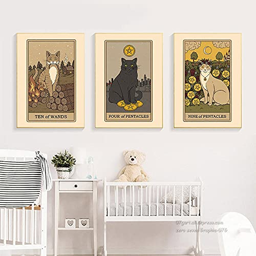 El mago cartel Tarot pared arte imágenes pintura cocina gato vino abstracto Halloween lienzo impresiones sala de estar decoración del hogar 50x70cmx3 sin marco