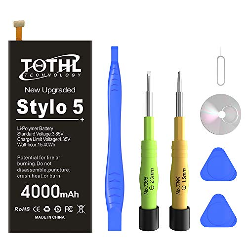 LG Stylo 5 Battery, 4000mAh Li-Polymer Replacement Battery Compatible for BL-T44 LMQ720PS LMQ720CS LMQ720MSLM-X520 Q60 X525EAW LMQ720QM5 LMQ720QM6 Q720MS with Repair Tool Kit