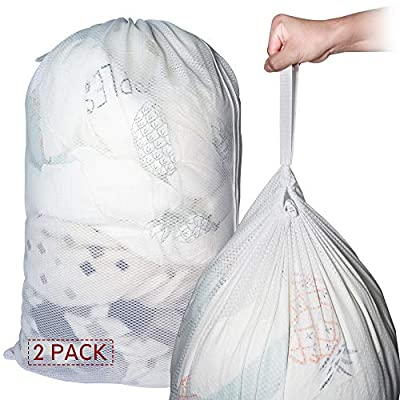 2 Pack Large Mesh Laundry Wash Bags(97x68cm), Travel White Net Laundry Bags, Machine Washable Sturdy Rip-Stop delicates Breathable Material with Handle for Kids Camp College by yyt
