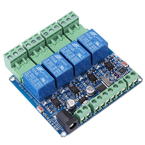 DC 12V RS485 4 Channel Relay Module with Optocoupler Protection STM8S103F3 Relay Board Microcontroller Communication