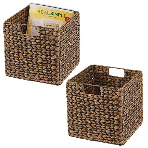 mDesign Set of 2 Storage Basket – Foldable Water Hyacinth Storage Box – Basket Storage Unit Ideal for Storing Clothes, Toys or Magazines – with Wickerwork Pattern – Brown
