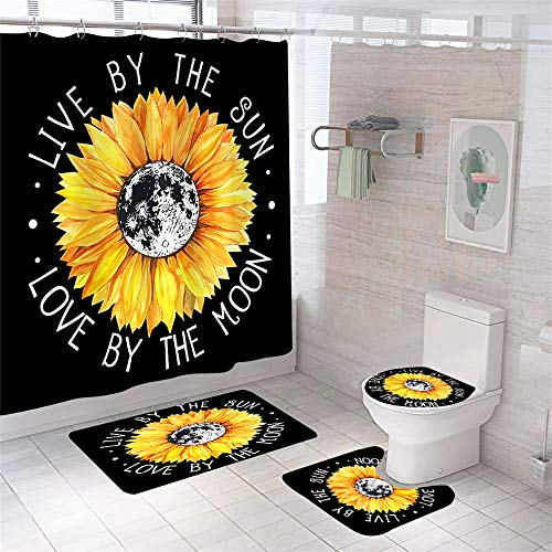 Sunflower Shower Curtain Sets with Rugs Chic Sunflower Slogan Bath Curtain with Non-Slip Rugs Toilet Lid Cover and Bath Mat Shower Curtain with 12 Hooks Floral Waterproof Shower Curtain for Bathroom