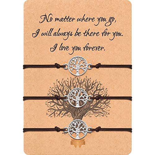 3 Pieces Tree Bracelet Adjustable Bracelet Black Textile Band Gift for Friendship, Thank You, Wish (Brown)