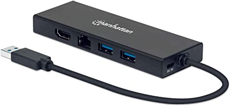 Manhattan USB-A 4-Port Hub/Dock/Converter, USB-A to HDMI, VGA, 2X USB-A & Ethernet Ports, HDMI: 4k@60Hz, USB-A: 5 Gbps, VG...