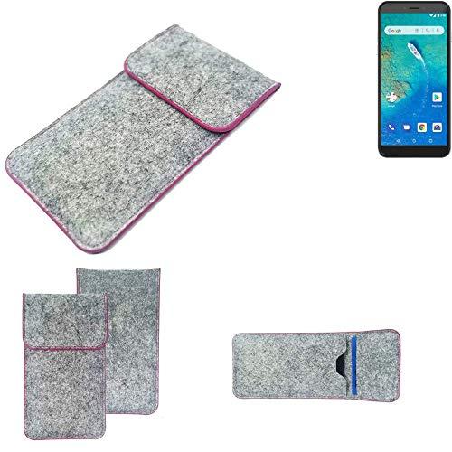 K-S-Trade Handy Schutz Hülle Für General Mobile GM 8 Go Schutzhülle Handyhülle Filztasche Pouch Tasche Hülle Sleeve Filzhülle Hellgrau Pinker Rand