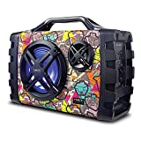 NEM Mobi7e Portable Wireless Bluetooth High Performance Stereo Speaker Extra Bass, USB Recording, Rechargeable Battery, AUX, TF Card Input, FM Radio, MP3, Mic and Guitar Input, LED Lights (Graffiti)