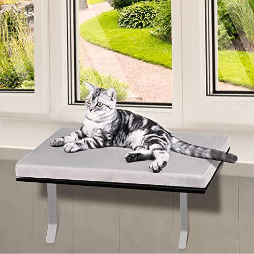 Masthome Fenster Katzenbett Flanell mit 15kg Lastaufnahme 60 * 30cm,Hängematten Katze Fensterplatz genagelt und Klettverschluss erreichbar