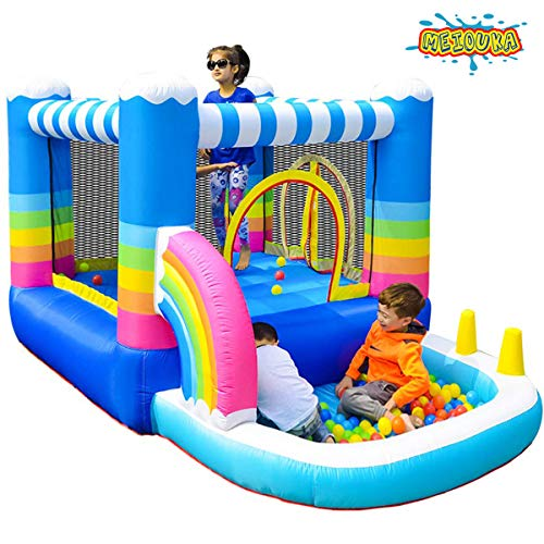 MEIOUKA Kids Inflatable Bounce Houses Jumper with 350W Blower Small Ball Pit Water Pool Rainbow Blow up Small Inflatable Bounce House for Kids Toddlers Indoor Outdoor Jumping Bouncer Party Yard Toys