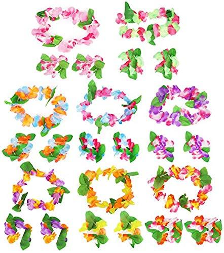 Queta 32pcs Guirnaldas Tropicales Hawaianas, Collar de Flores de Hawái, Guirnalda de Pelo, Pulseras de Guirnaldas de Flores, Decoraciones Hawái para el Vestido, Playa y temática