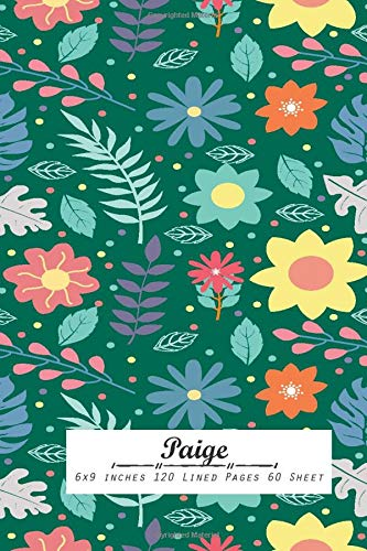 Paige: Lined Notebook 6x9 inches 120 Lined Pages 60 Sheet For Writing School Note Book Gride Line Design for Woman, girl, school, college with Lettering Name,Paige