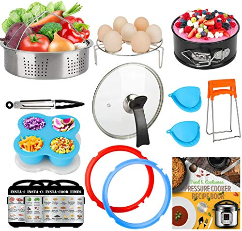 3-Quart-Accessories-Set with Tempered Glass Lid Sealing Rings Compatible with Instant Pot Mini 3, Including Steamer Basket Springform Pan Egg Rack Trivet Works with 3 Qt Instapot, Cookbook, Cover