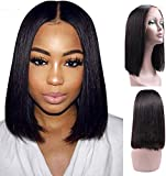BLISSHAIR Human Hair Closure Wigs Short Bob Wig Glueless Lace Closure Wigs Straight 130% Density Brazilian Virgin Remy Hair for woman Natural Black 16inch