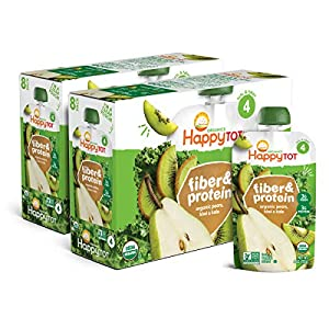 Happy Family Tot Organic Stage 4 Fiber & Protein, Pears, Kiwi & Kale, 4 Ounce (Pack of 16)