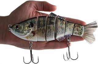 "Real Fish 8"" Spring Shad Multi Jointed Swimbait Bass Fishing Bait Hard Lure Slow Fast Sinking Life Like Big Gizzard Shad Minnow Bluegill Dark Sleeper Hooks"