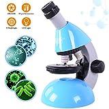 Emarth Kits éducatifs de Microscope pour Enfants étudiants débutants, grossissement monoculaire composé du Microscope 40X- 640X et Kits de Science de 50 pièces