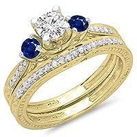 14Kゴールドブルーサファイア&ホワイトダイヤモンドヴィンテージ3石ブライダル婚約リングセット