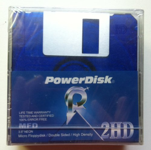 PowerDisk 2HD Floppy Diskette Neon 5 Pack