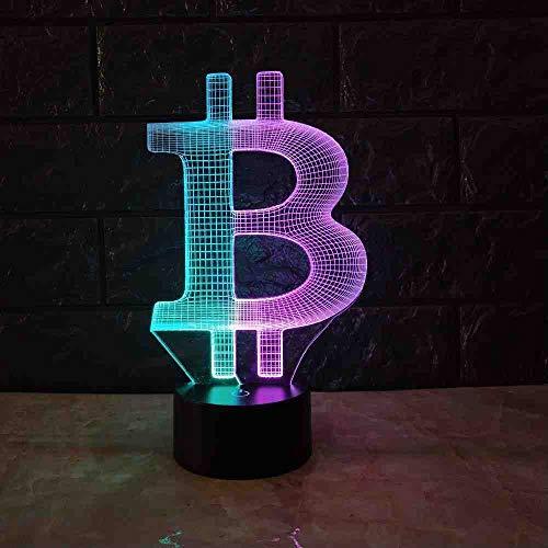 RJGOPL acrylic Bitcoin Mix Farbe 3D Lampe Stimmung Nachtlicht Rgb Led Beleuchtung Usb Touch Base Tisch Schreibtisch Nachttisch Dekorativ