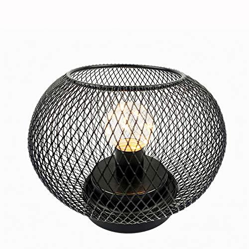Linterna de jaula de metal, lámpara de jaula, lámpara de noche hueca, funciona con pilas, lámpara de mesa para el hogar, bar, oficina, tipo redondo
