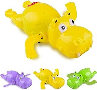 Sanwooden Interesting Toy Clockwork Bath Toy 1Pc Cartoon Swimming Hippo Animal Clockwork Wind Up Fun Bath Water Kids Toy T...