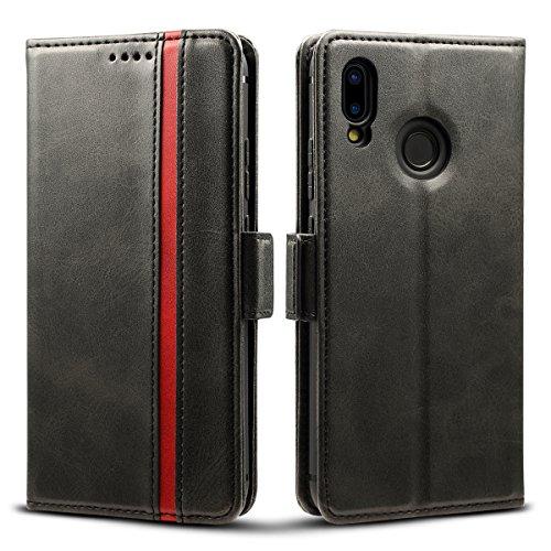 Rssviss Hülle für Huawei P20 Lite, Huawei P20 Lite Handyhülle 3 Kartenfächer Tasche Leder Schutzhülle mit Magnetverschluss für Huawei P20 Lite Ledertasche 5,84 Zoll Schwarz