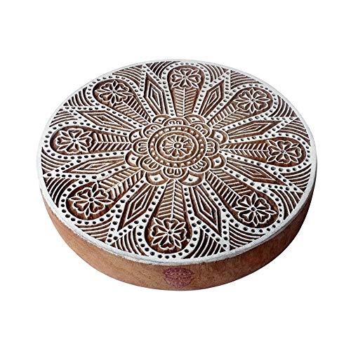 8 Inch Handgeschnitzt Holzblöcke Groß Blume Runden Entwürfe Großer Drucken Stempel