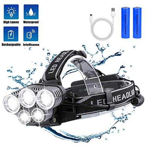 BETECK Lámpara de Cabeza LED USB Recargable Alta Potencia 15000LM, Linterna Frontal 5 LED 6 Modos IPX4 Impermeable para Camping, Pesca, Ciclismo, Carrera, Caza ✅