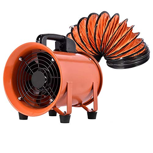 Ai CAR FUN Utility Blower Fan Portable Ventilator High Velocity Utility Blower Mighty Mini Low Noise (8 inch with 5M Duct Hose)