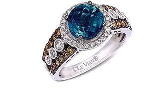 LeVian Deep Sea Blue Topaz Chocolate and Vanilla Diamonds Ring 2.67 cttw 14K White Gold New