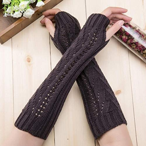 New Warm Winter Solid Color Women Girl Fingless Knitted Long Gloves Female - (Color: Dark Grey)
