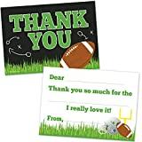 Football Birthday Party Fill in The Blank Thank You Notes for Boys - (20 Count with Envelopes) - Kids Thank You Cards