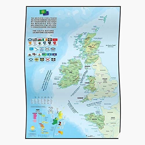 QUYNHHOZ Cornwall The from Gaelic Six Scottish Maps Ireland Welsh Irish Manx Celtic Celts Nations and Cornish The Most Impressive and Stylish Indoor Decoration Poster Available Trending Now