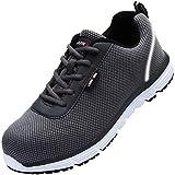 LARNMERN Zapatos de Seguridad Hombres,LM30 S1 SRC Zapatillas de Trabajo con Punta de Acero Ultra Liviano Reflectivo Transpirable(47 EU,Gris)