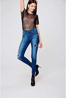 Calça Jeans Skinny Rasgada Feminina