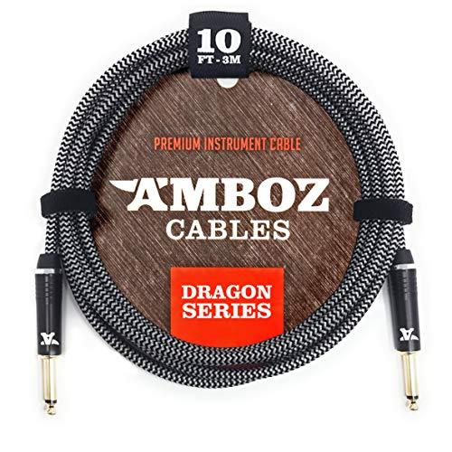 Cable para Instrumentos White Dragon blanco - Sin ruido para Guitarra y Bajo Eléctrico - 3 metros de pulgada recto 1/4 jack macho macho