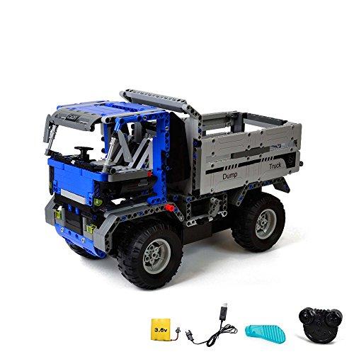 2.4GHz RC Steckbausatz DIY ferngesteuerter Kipper Dump Truck aus Bausteinen zum Selberbauen Basteln mit 2.4GHz Fernbedienung, Block Building Fahrzeug, Auto, Car, Komplett-Set Inkl. Akku und Ladegerät