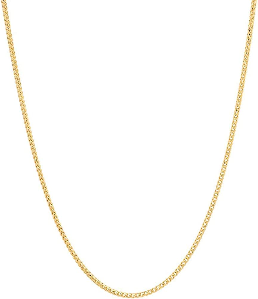 Pori Jewelers 18K Gold 1.5mm Franco Square Box Chain Necklace for Women -Multiple Lengths Available