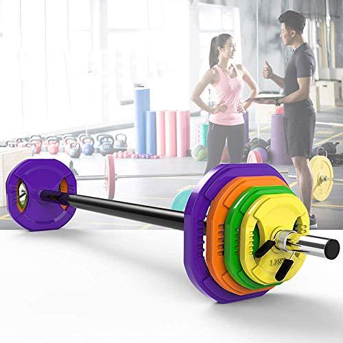 Lvfsng 20KG Gewichtheffen Barbell set, Huishoudelijke Fitness Polygonale Barbell met Lente Kraag Geïntegreerde Barbell staaf, Kleur Gietijzeren Plaat Barbell voor Krachttraining