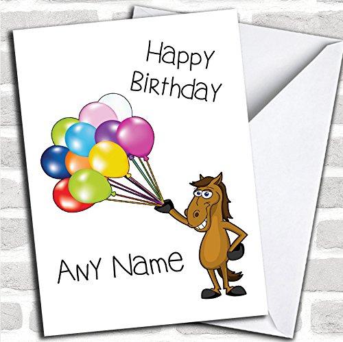 Cartoon Paard & Ballonnen Verjaardagskaart Met Envelop, Kan Volledig Gepersonaliseerd, Verzonden Snel & Gratis
