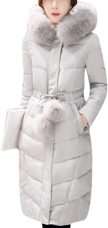 TaoNice Women's Fur Collar Thickened Winter Pompon Slim Fitting Anorak Jacket
