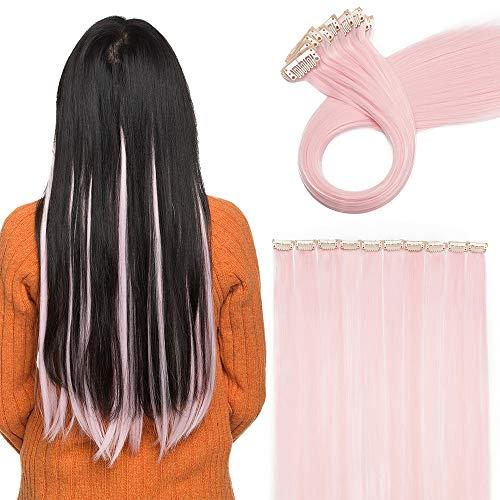 """20\""""(50 cm) Extensoines de Colores de Cabello Clip Pelo Sintético Se Ve Natural 10 PCS Mechas Fantasía para Niñas Muñecas Lisos Postizos de pelo #Rosa Claro (50cm,80g)"""